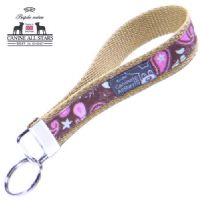 WRISTLET KEYCHAIN - PINK AND MINT PAISLEYS ON CHOCOLATE BROWN (RIBBON 16mm)